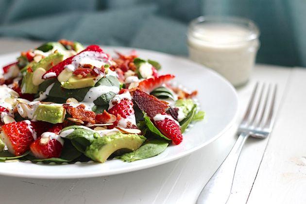 Bacon, Avocado & Strawberry Salad with Greek Yogurt Poppy Seed Dressi ...