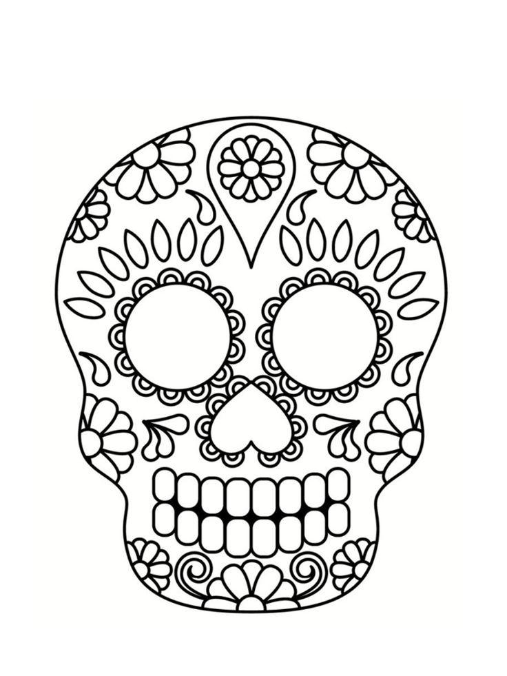 Coloriage tête de mort mexicaine : 20 dessins à imprimer | Coloriage tête de mort, Tête de mort ...