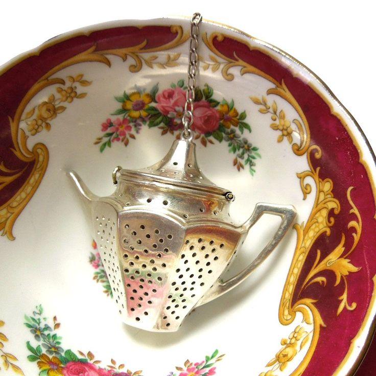 Vintage Sterling Figural Tea Pot Tea Strainer