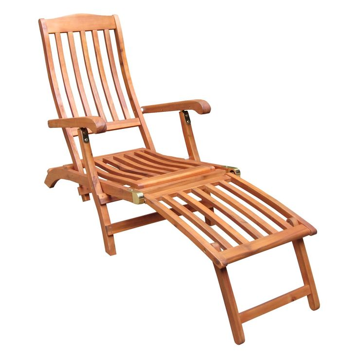International Concepts Steamer Chair with Brass Plated Hardware. Asian hardwoods. Folding lounge chair. Oil treated twice to maximize outdoor protection from the elements.