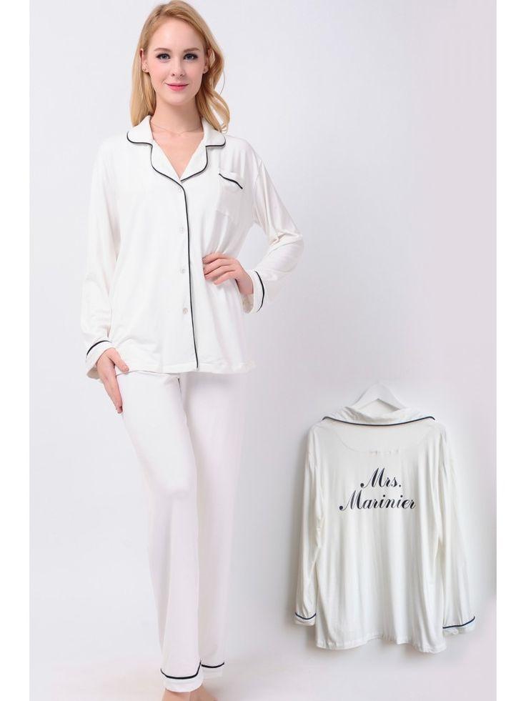 Ivory Long Jersey Pyjamas Set Bridesmaid Pyjamas Set