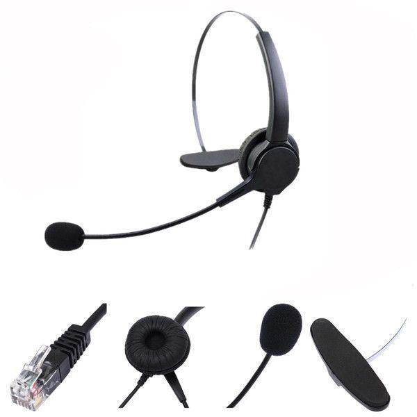 Rj11 Telephone Headset Noise Cancelling Microphone Earphone Headphone For Desk Phones
