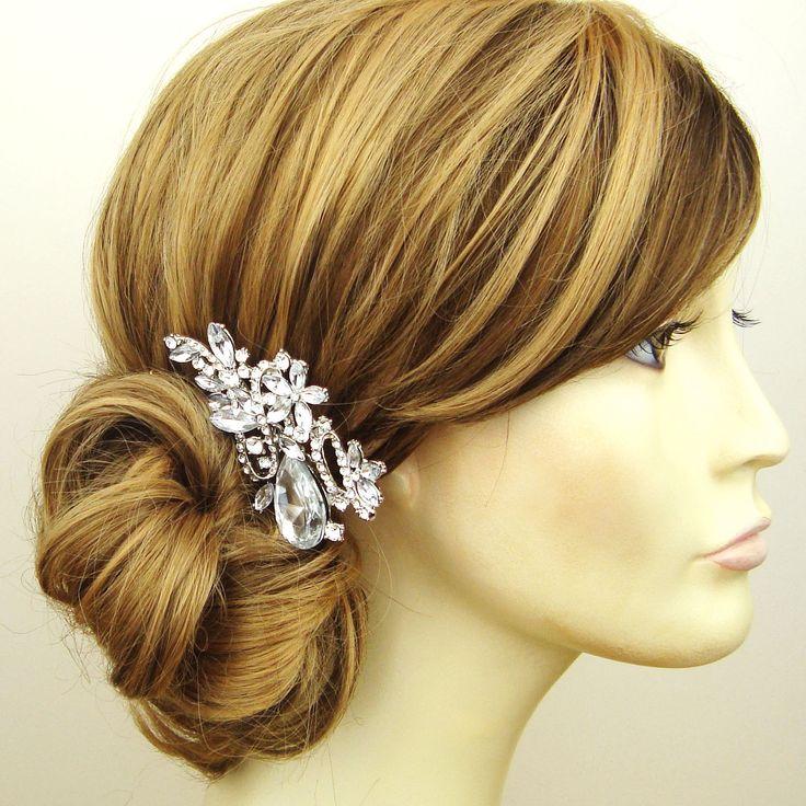 Rhinestone Wedding Hair Comb, Rhinestone and Pearl Flower Vintage Inspired Bridal Hair Comb, Art Deco Wedding Hair Accessories, GEMMA. $69.00, via Etsy.