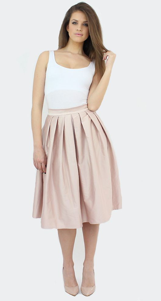 Nude Midi Skirt for a romantic outfit..:)  #shopping #skirt #midi #style #fashion