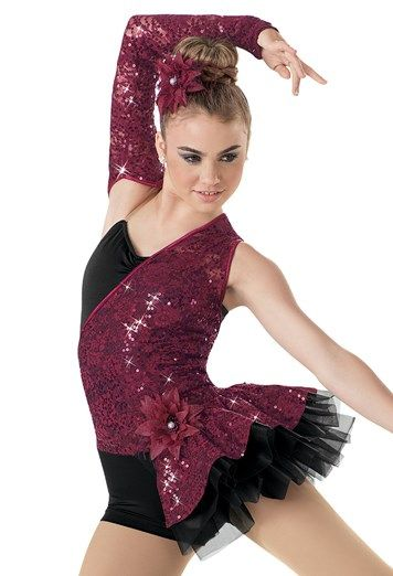 """Black Biketard with a Maroon Sequined Asymmetrical Bodice and Arm and a Side Tricot Bustle - """"Love Me Again"""""""