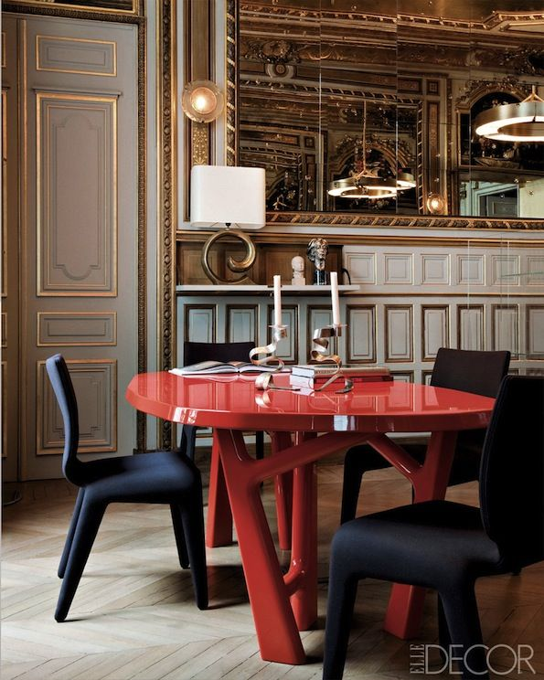 A Modern Paris Apartment The Dining Rooms Lacquered Oak Table Is By Christophe Delcourt And Chairs Are Roche Bobois