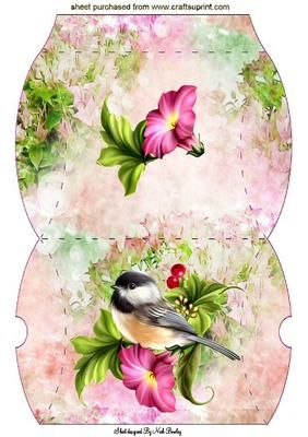 LITTLE BIRD ON A BRANCH WITH FLOWERS PILLOW BOX on Craftsuprint designed by Nick Bowley - LITTLE BIRD ON A BRANCH WITH FLOWERS PILLOW BOX, for that special gift, Also can be seen in A4