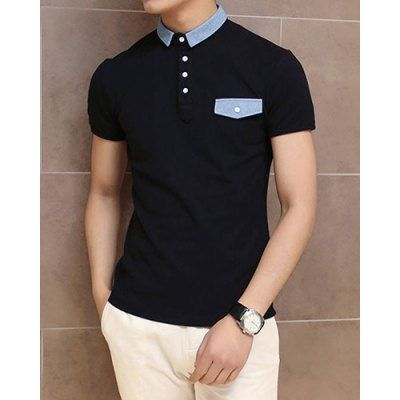 Stylish Turndown Collar Slimming Color Block Denim Splicing Short Sleeve Polyester Polo T-Shirt For Men-17.37 and Free Shipping| GearBest.com