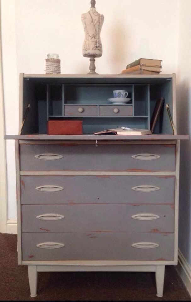 Vintage writing bureau. Painted in French Linen, Country Grey and Duck Egg. Stunning contrasts. Distressed and waxed