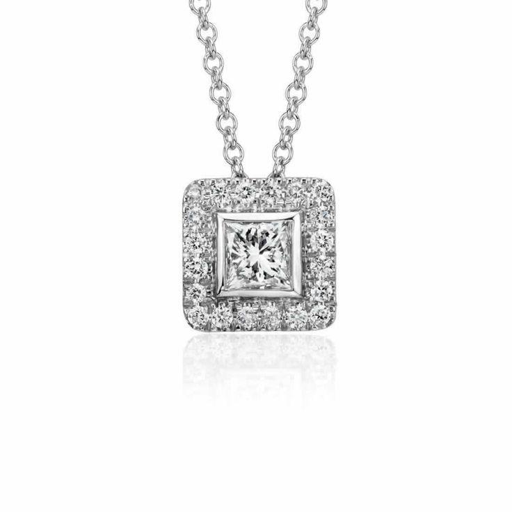 Princess Cut Diamond Halo Pendant in 9K White Gold (0.45ct tw) | The Diamond Channel, Johannesburg
