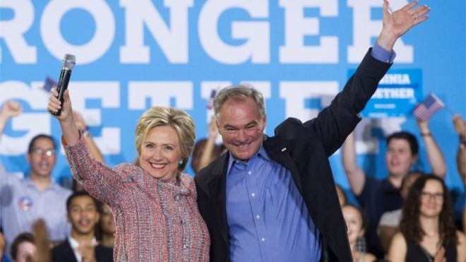 US Democratic Presidential candidate Hillary Clinton and US Senator Tim Kaine during a campaign rally in Virginia.