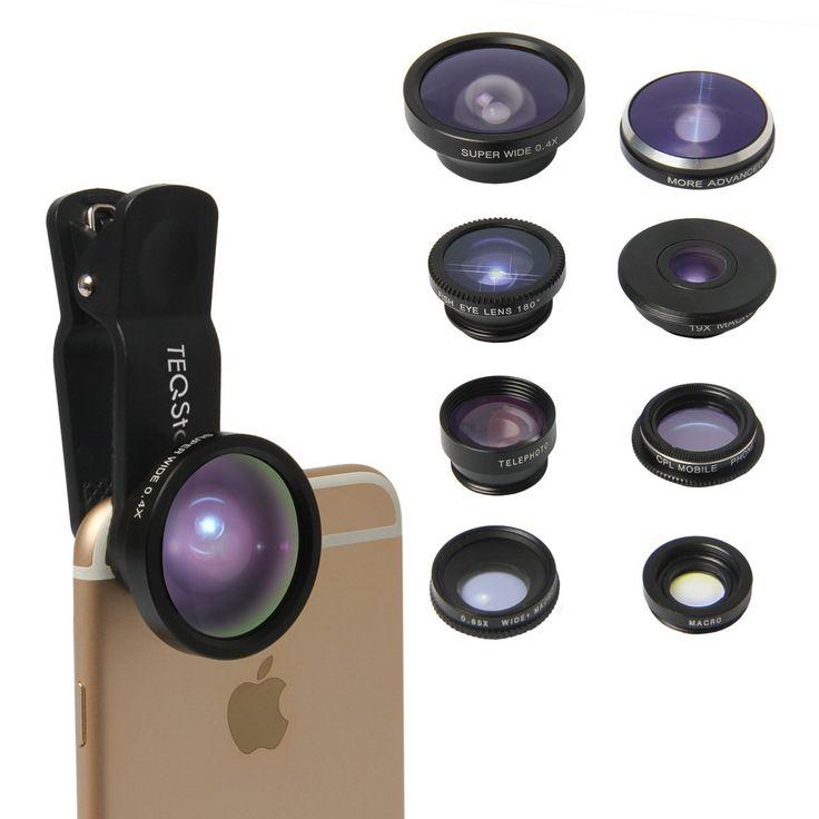 Amazon.com: TEQSTONE 8-in-1 Clip-On Cell Phone Camera Lens Kit, 1 x 0.65X Macro& Wide Lens+ Fisheye Lens 180°+ Telephoto Lens 2X+ CPL Lens + Super Fisheye Lens 235°& 19X Macro Lens+ 0.4X Super Wide Angle Lens: Cell Phones & Accessories