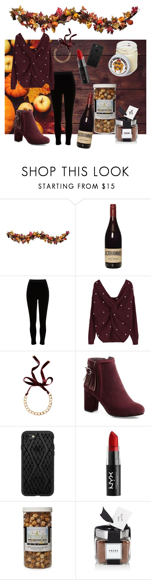 """""""Thanksgiving"""" by pretty-and-practical ❤ liked on Polyvore featuring Improvements, River Island, Chan Luu, Casetify, NYX, The Hampton Popcorn Company and FREDS at Barneys New York"""