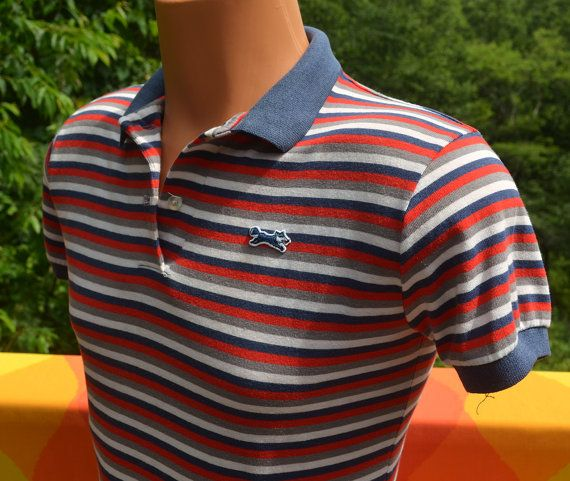 vintage 80s polo golf shirt FOX red white blue stripes jc penney XS Small american flag