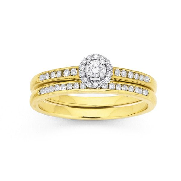 9ct, Diamond Bridal Set Total Diamond Weight=.25ct