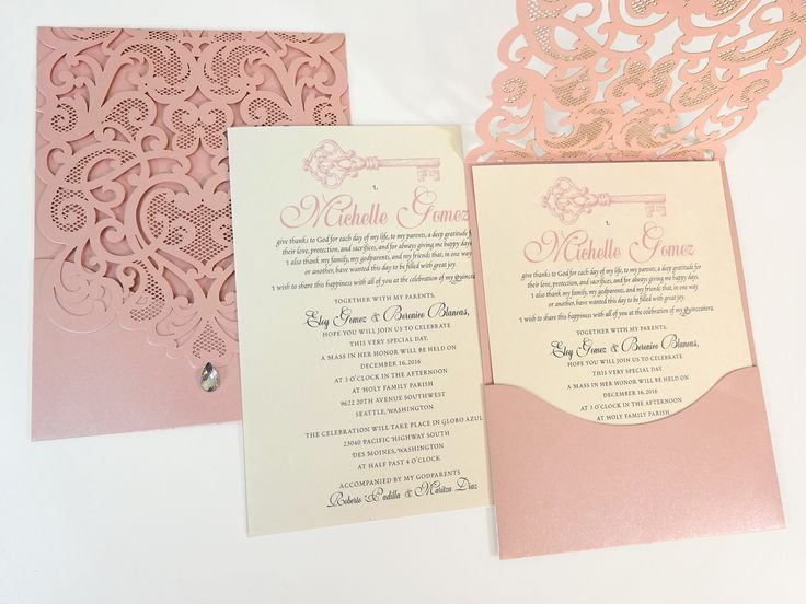 Rhinestone Diamond Laser Cut Quinceañera Invitations - Citlali Creativo LLC