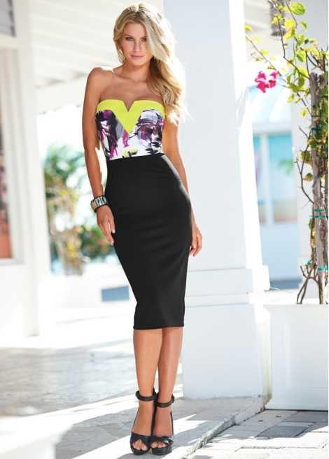 Attraktives Kleid mit kontrastierendem Oberteil und kleinem V-Ausschnitt - schwarz/gelb