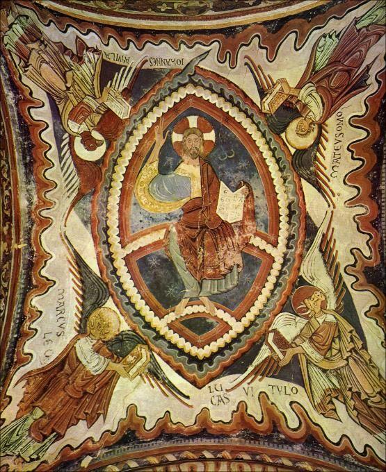 PINTURAS ROMÁNICAS DEL PANTEÓN DE  SAN ISIDORO DE LEÓN. S.XII.  Se encuentra situado a los pies de la Basílica de San Isidoro de León, lugar en el que durante la Edad Media recibieron sepultura la mayoría de los reyes y reinas del reino de León.  dos robustas columnas, sobre las que se apoyan siete arcos, que dividen el espacio en tres naves, con sus muros pintados  #sanisidoro #romanico #santogrial #leon #cunadelparlamentarismo #reinodeleon