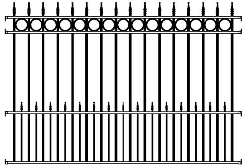 Concord Wrought Iron Fence Panel 4 Rail
