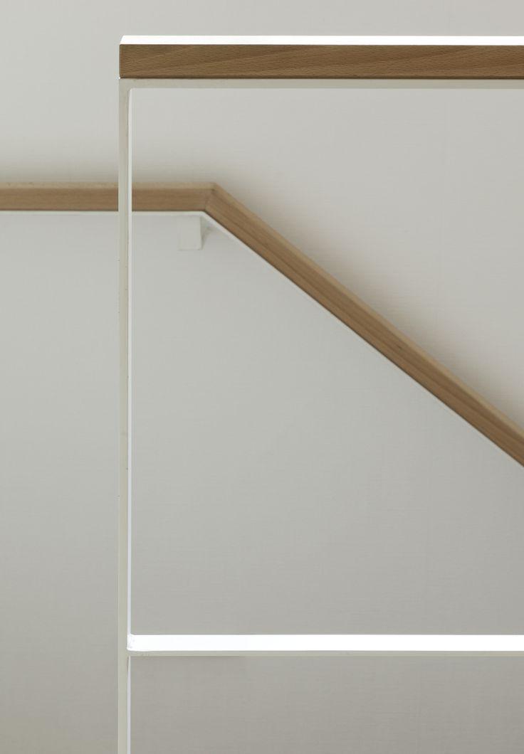 white steel and oak railing detail