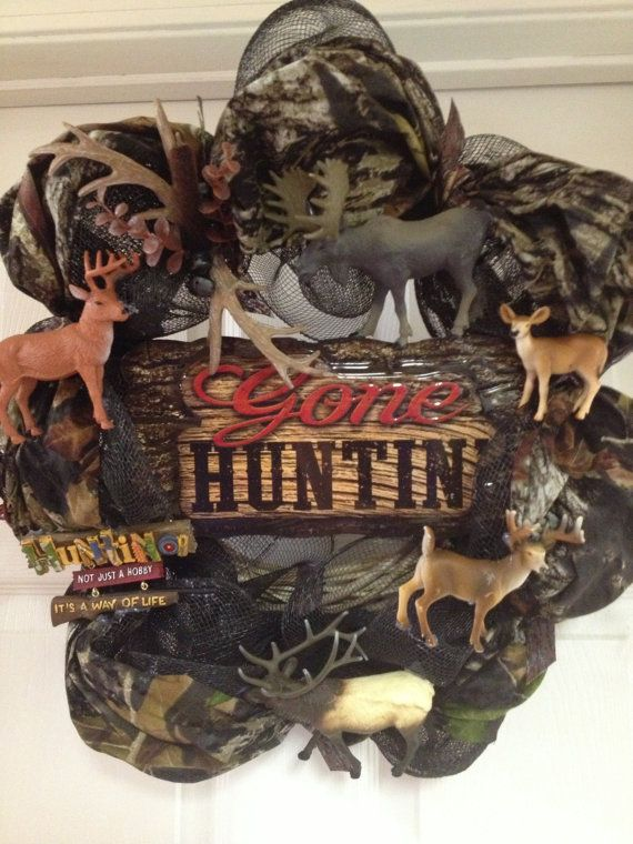 Camo Wildlife Wreath by WreathsMumsandMore on Etsy, $50.00