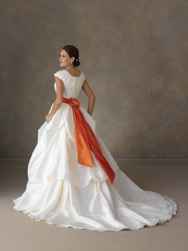 Satin wedding dress with tangerine sash   Tangerine and ...  Satin wedding d...