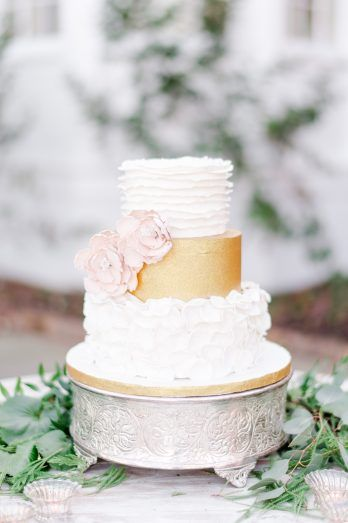 gold buttercream wedding cake, ruffled wedding cake design, pink sugar flowers wedding cake  from Jane Austen Victorian wedding inspiration at River Farm and outdoor wedding venue