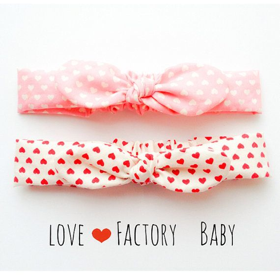 Happy Baby head wrap Bandana bow headband baby size lots of love heart pink :) cute baby children jewelry and accessory by love factory