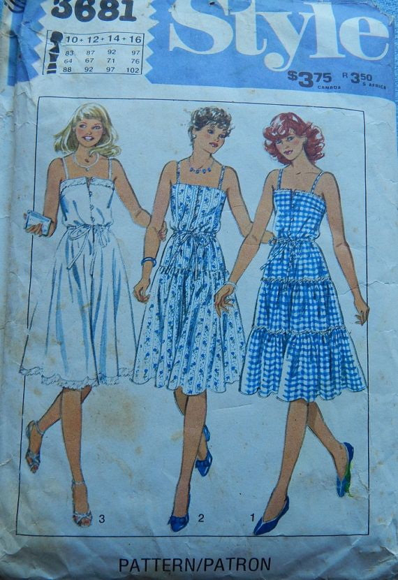 1980s Vintage sewing pattern Tiered Gathered Sundress Pattern
