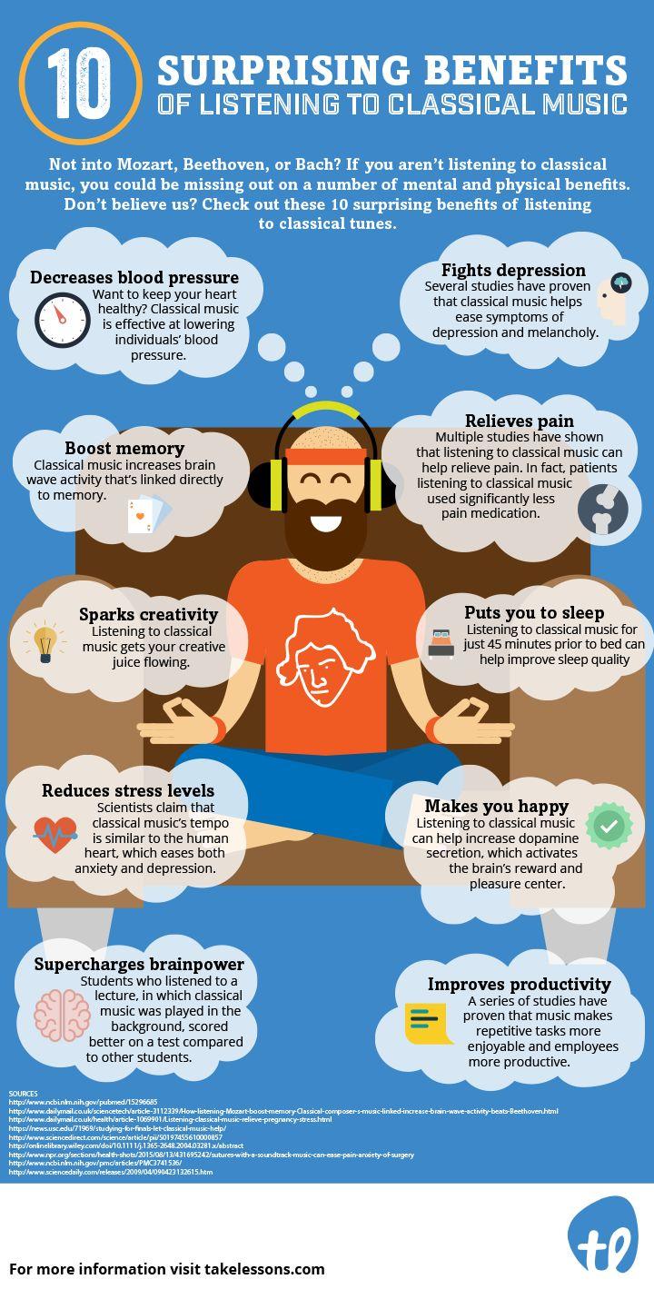 10 Shocking Benefits of Listening to Classical Music [Infographic] http://takelessons.com/blog/benefits-of-listening-to-classical-music-z15?utm_source=Social&utm_medium=Blog&utm_campaign=Pinterest