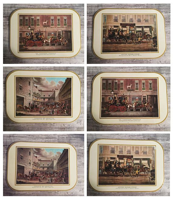 Vintage Placemats Lunchen Table mats with Victorian Era London Scenes #Victorian #London #Tophats #HorseandBuggy #Placemats #Vintage #Luncheon #TableMats #VictorianEra #SteampunkKitchen #TableDecor #SteampunkHomeDecor