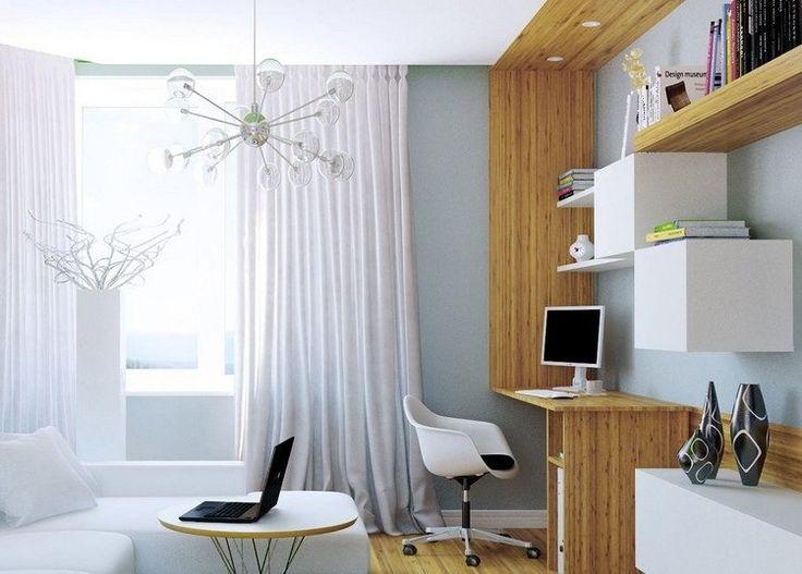 aménagement bureau à la maison - modules muraux cubes, étagères ouvertes chaise à roulettes blanche, canapé d'angle et table basse ronde