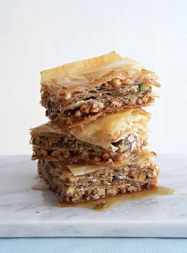 This vegan baklava recipe shows you how to make the Greek classic with phyllo dough, agave nectar in place of honey, and not one but three types of nuts.