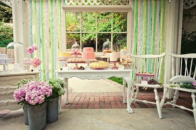 nice party ideas: Dessert Tables, Birthday Parties, Wedding Decorations, Ribbons, Bridal Shower Teas, Parties Ideas, Gardens Parties, French Patisserie, Desserts Tables