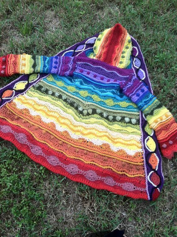 Pattern: Technicolor Dream Coat / Freeform style crochet ...
