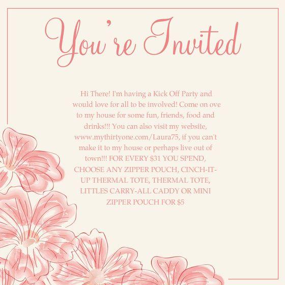 Thirty One Invitation Wording