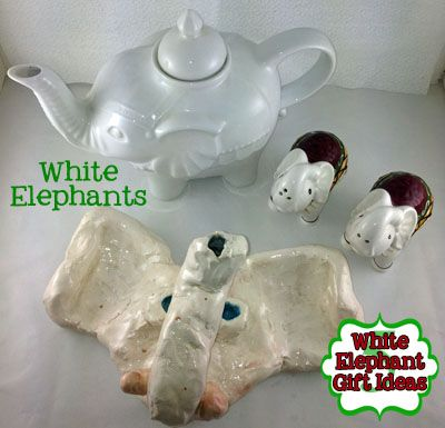 Watch yards Sales and Thrifts for elephants to spray white - white elephant gift ideas