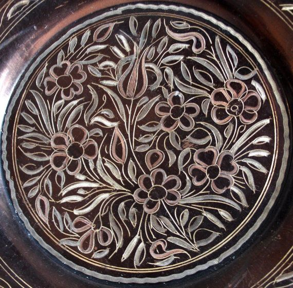Tulip etched flowers PLATE vintage COPPER dish by cabinetocurios, $19.50