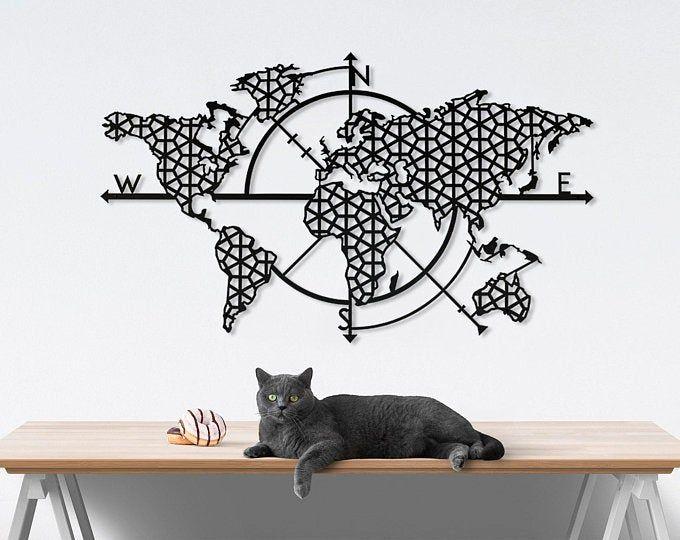 Wood World Map Wall Art Flat Earth Led World Map As Wall Etsy World Map Wall Art Map Wall Art Home Decor Christmas Gifts