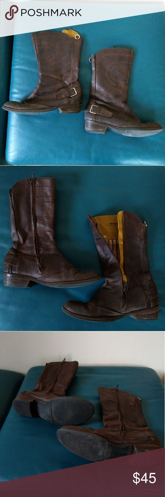 Chocolate Brown Mid Calf Leather Boots Chocolate Brown Mid Calf Leather Boots, Good condition, but see pics of interior seam damage. These were resoled in hard rubber so they have a lot of life left in them! Ted Baker Shoes #midcalfboots