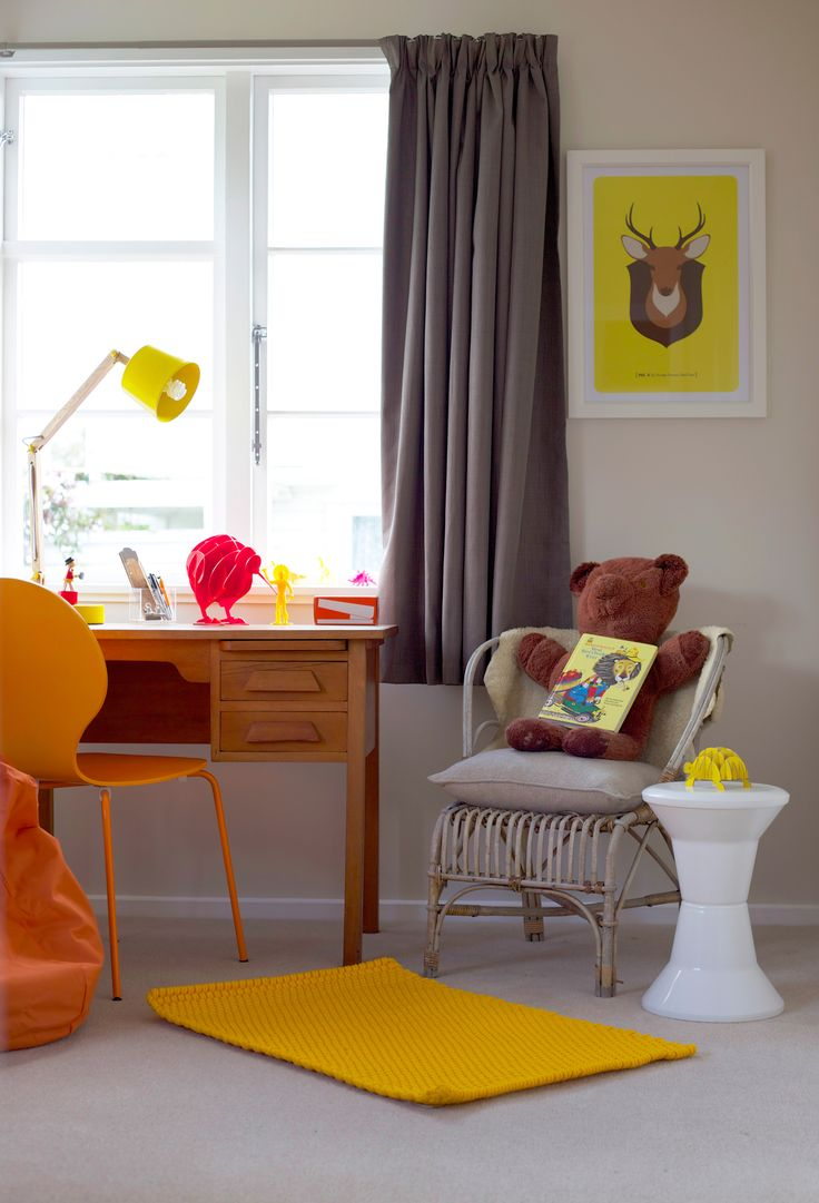 Kids bedroom. Yellow mat. Vintage desk. Vintage teddy bear. Orange chair #Hunters Furniture. Yellow doh print, 326, #endemicworld.com. Yellow lamp #Dounbglasandbec. Styling by placesandgraces