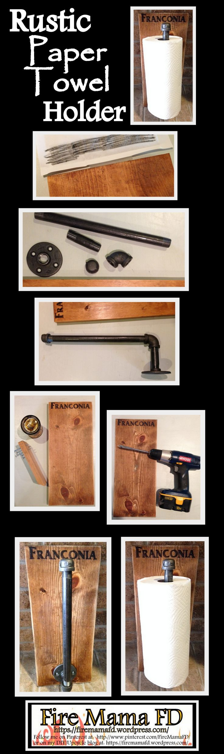 Rustic paper towel holder from plumbing pipe. DIY for under $15.00