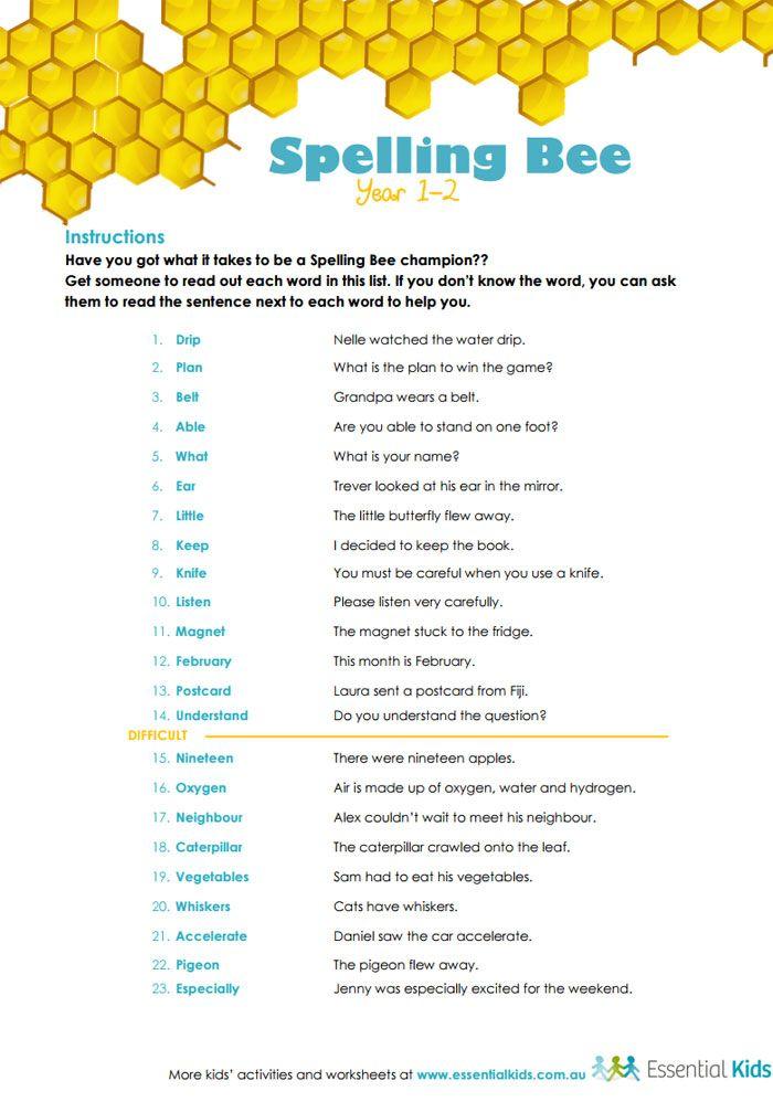 pin by essential kids on printable activities worksheets spelling bee bee activities. Black Bedroom Furniture Sets. Home Design Ideas