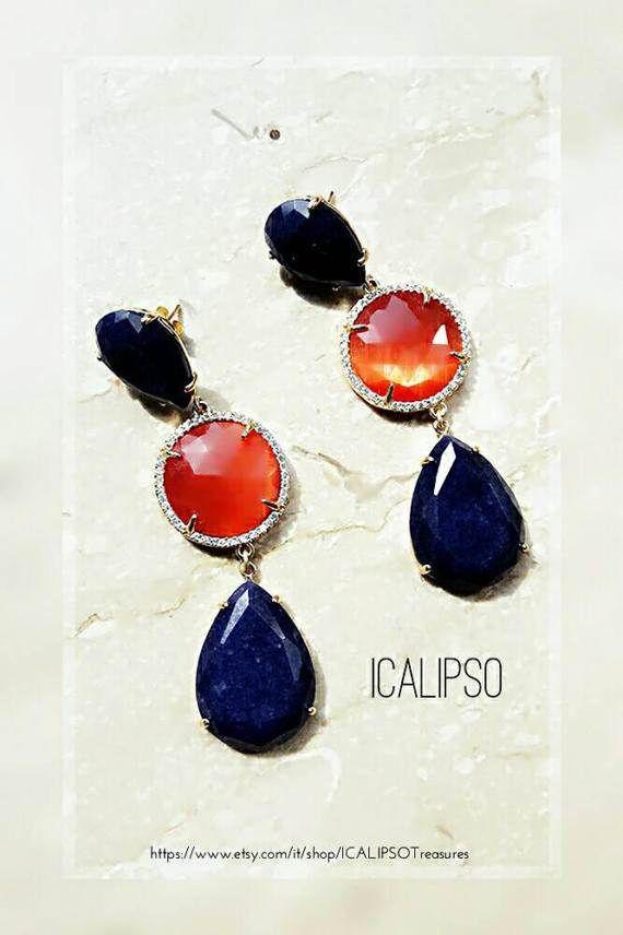 Guarda questo articolo nel mio negozio Etsy https://www.etsy.com/it/listing/473882680/blu-orecchini-per-le-donne-orecchini-blu