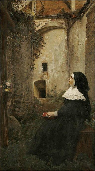 Ferdinand Wagner (1819 – 1881) - A Nun Contemplating a Cross in a Garden