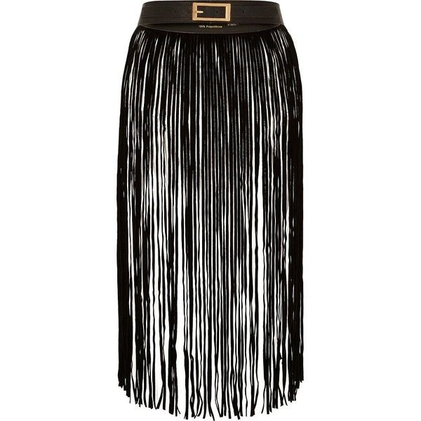River Island Black fringed longline belt ($60) ❤ liked on Polyvore featuring accessories, belts, black, women, black buckle belt, river island, black belt, fringe belt and black fringe belt
