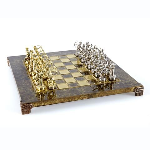 Handcrafted Metallic Chess - Chess Set - Archers (Small) - Gold/Silver