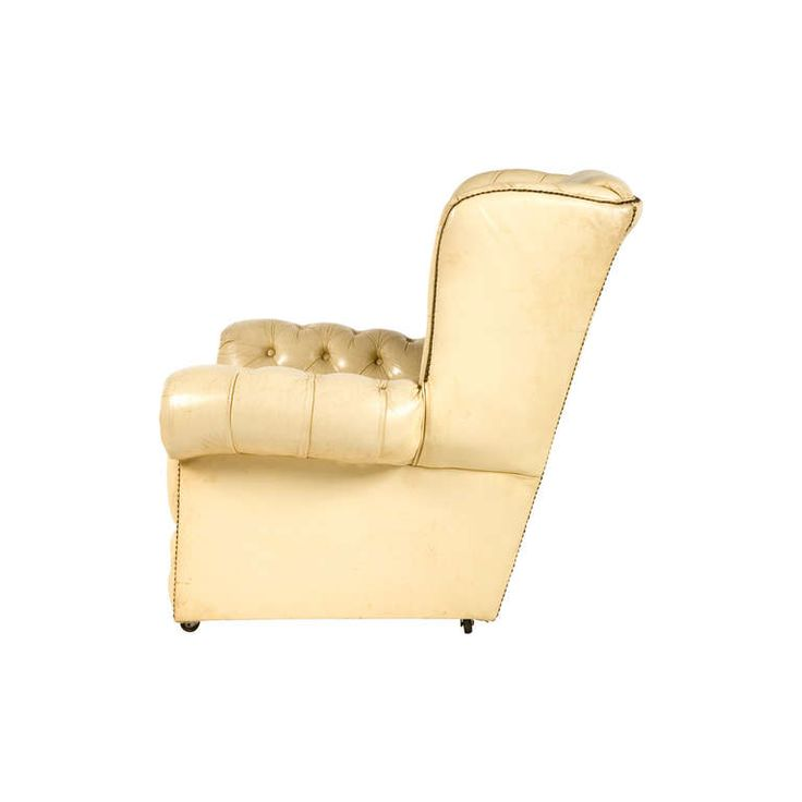 vintage tufted leather wingback chair