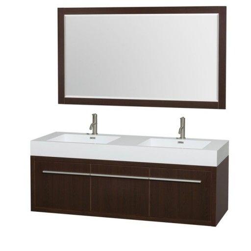"Wyndham Collection Axa 60"" Wall-Mounted Double Bathroom Vanity Set With Integrated Sinks - Espresso WC-R4300-60-VAN-ESP"