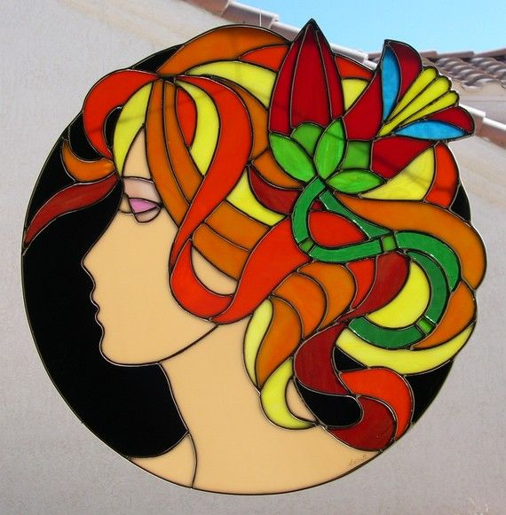 Stained Glass Girl with Flower in Hair by StainedGlassbyWalter, $179.95